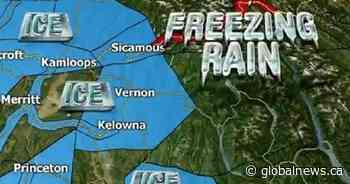 Freezing rain alert continues in B.C.'s Southern Interior, snowfall warning for Trans-Canada Highway