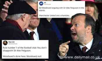 Manchester United fans react after Sir Alex Ferguson and Ed Woodward are seen in deep conversation