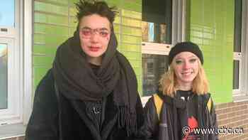 Students protesting boy's suspension from high school for wearing makeup