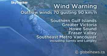Strong outflow winds could reach 90 km/h in parts of the South Coast