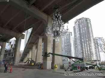 ART SEEN: Spinning Chandelier draws attention to 'neo-gothic form' under Granville Street Bridge