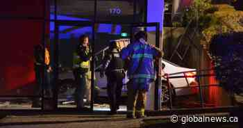 'It looks worse than it was': No injuries after car crashes into storefront in Burnaby
