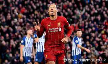 Liverpool 2-1 Brighton: Van Dijk heads brace to send Reds 11 points clear as Alisson is sent off