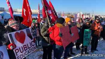 Hundreds protest public service cuts at UCP meeting in Calgary