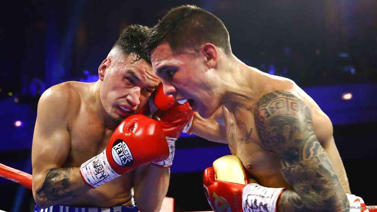 Oscar Valdez got up from the canvas in Round 2 to defeat Adam Lopez by seventh-round TKO. Valdez is now the mandatory challenger to Miguel Berchelt's WBC junior lightweight world title.