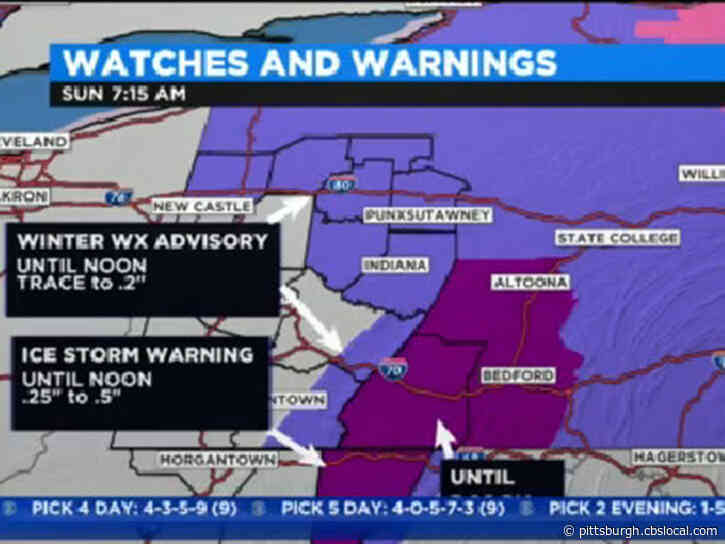 Pittsburgh Weather:  Rain In Some Areas, Freezing Rain, Ice In Others