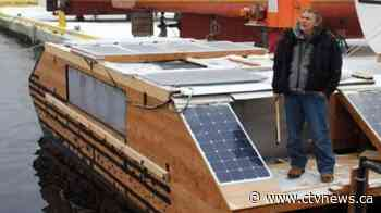 A solar-powered boat abandoned in Canada washed ashore in Ireland