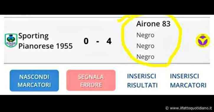 Razzismo, segna un gol nella partita juniores: il tabellino modificato con la parola 'negro'