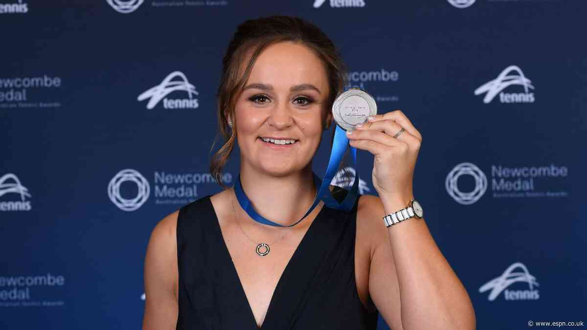 Ash Barty claims third straight Newcombe Medal