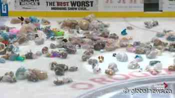 Edmonton Oil Kings teddy bear toss in support of Santas Anonymous
