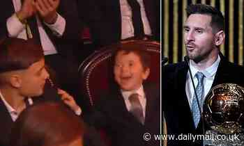 Lionel Messi's four-year-old son Mateo reacts hysterically to his dad winning his sixth Ballon d'Or