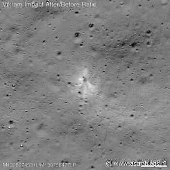 Plek waar de Vikramlander op de maan crashte gevonden door de Lunar Reconnaissance Orbiter