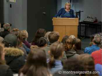 Green Party MP Elizabeth May talks climate emergency with students