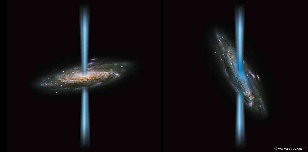 Geïoniseerd koolstofgas in sterrenstelsel blijkt van schuine jet zwart gat te komen