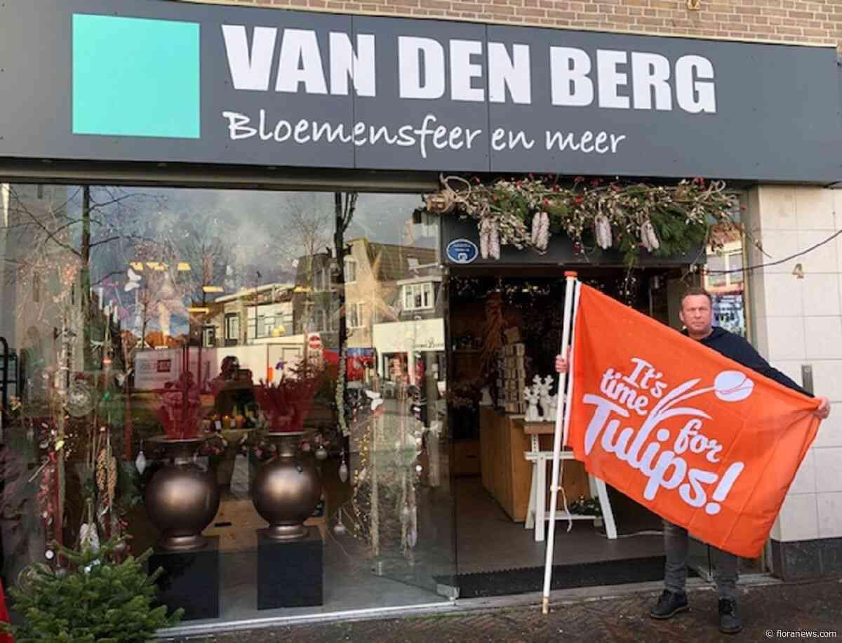 Oranje tulpenvlag in straten en winkels