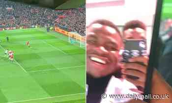 Paul Pogba cheers on Marcus Rashford's penalty from the stands as Manchester United beat Tottenham