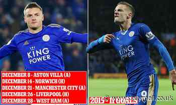 Can Jamie Vardy break his own record of goals in consecutive games?