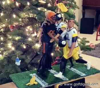 Your nativity scene has nothing on this Myles Garrett-Mason Rudolph holiday display