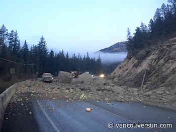 Rock slide closes Highway 93 near Fairmont Hot Springs