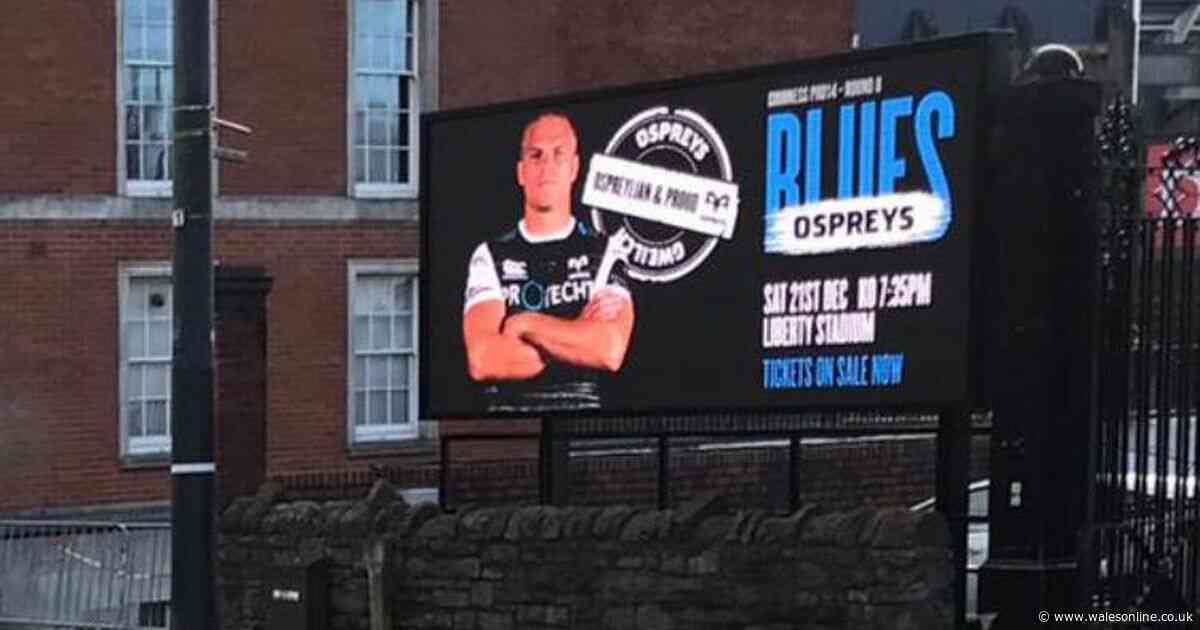 Cardiff Blues and Ospreys row as 'disrespectful' giant advert of Gareth Anscombe appears outside Arms Park