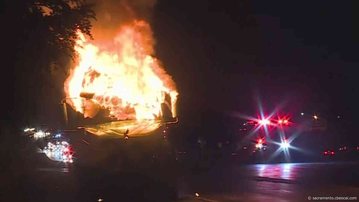 VIDEO: Big Rig Catches Fire Along I-80 In Citrus Heights