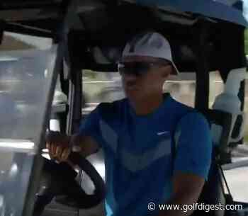 Tiger Woods rolls up to Friday tee time in a golf cart, still manages to look cool