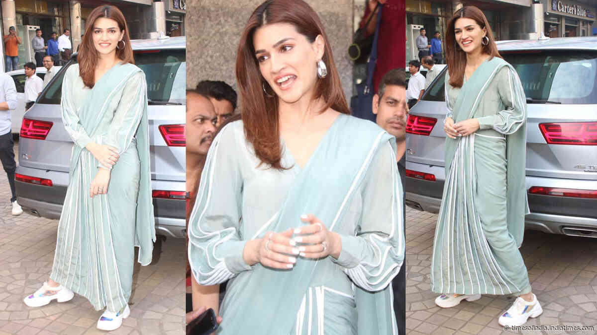 Kriti Sanon pairs her readymade sari with a funky pair of sneakers