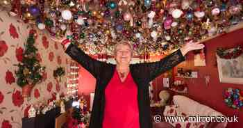 Nan spends £15,000 on 2,700 Christmas balls to hang from her living room ceiling