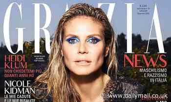Heidi Klum looks sensational in striking blue eyeshadow in her Italian Grazia cover shoot