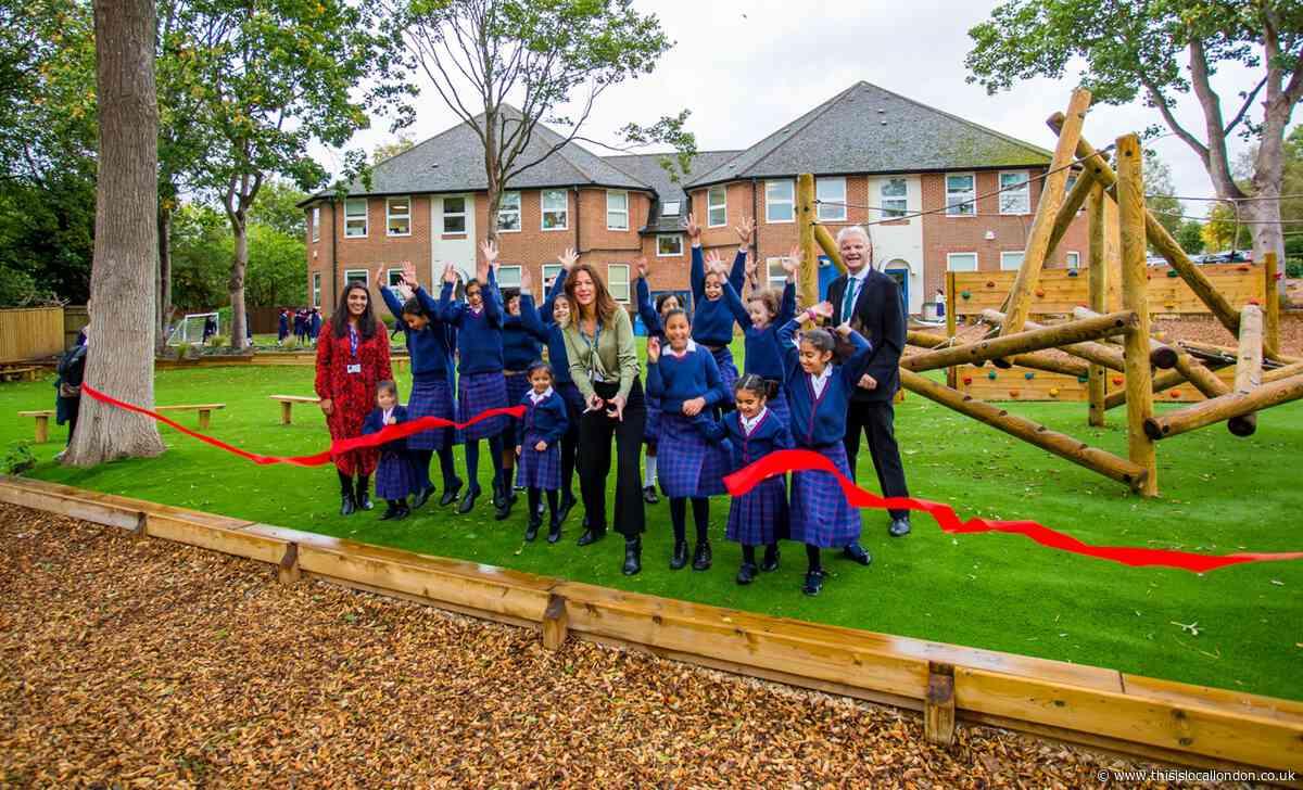Northwood girls celebrate opening of new adventure playground