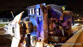 M25 closed after crane overturns across both carriageways