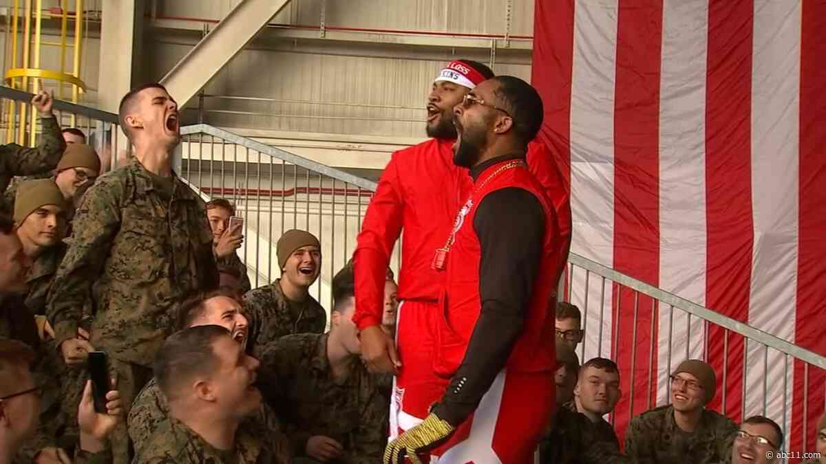 WWE superstars preforms tribute show for troops at New River military base