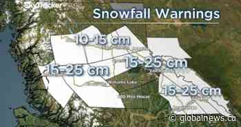 More than a dozen snowfall warnings issued for B.C.'s central interior, up to 25 cm forecast