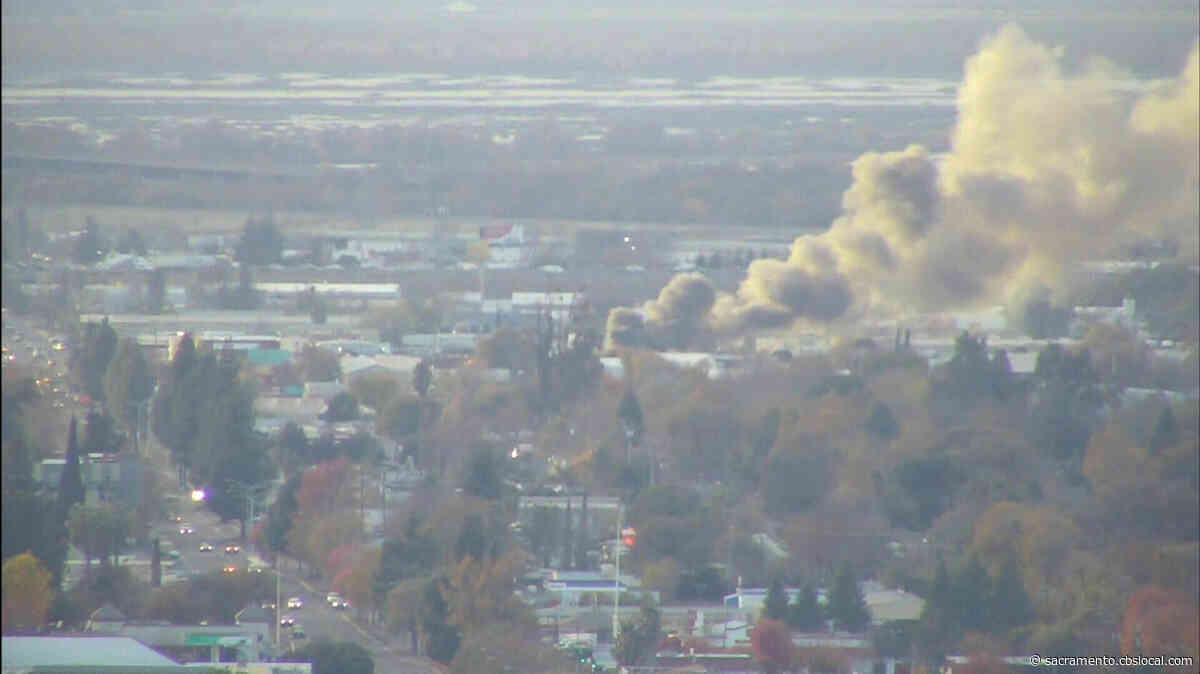 Firefighters Battling Fire At Junk Car Lot In West Sacramento