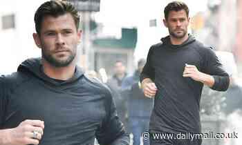 Chris Hemsworth films a commercial for Hugo Bossin New York