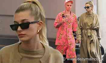 Hailey Bieber opts for comfort in laidback taupe set and coat with husband Justin Bieber in LA