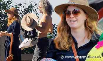 Amy Adams and shirtless husband Darren Le Gallo go shopping in Santa Monica as Christmas gets closer