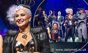Anastacia, 51, dazzles in metallic corset and lavender wig for We Will Rock You performance