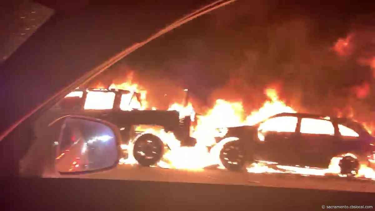 Vehicle Fire, Multi-Vehicle Crash Blocking Lanes On Highway 50