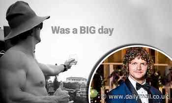 Nick 'Honey Badger' Cummins shows off his bulging biceps going shirtless