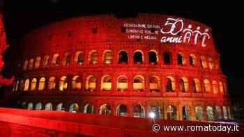 Il Colosseo si illumina di rosso: è l'omaggio ai 50 anni dell'AIL