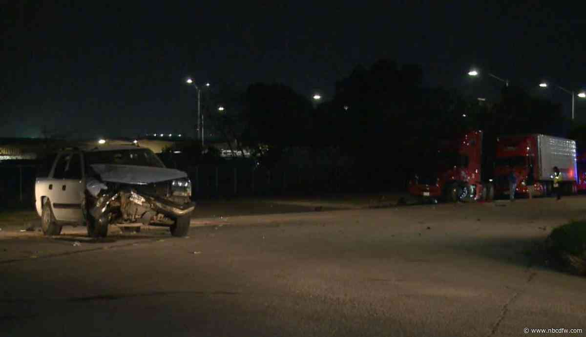 Two Injured After SUV Clips Parked Semi: Fort Worth Police