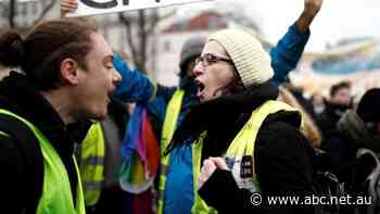 Tensions flare as yellow vests join French retirement protests