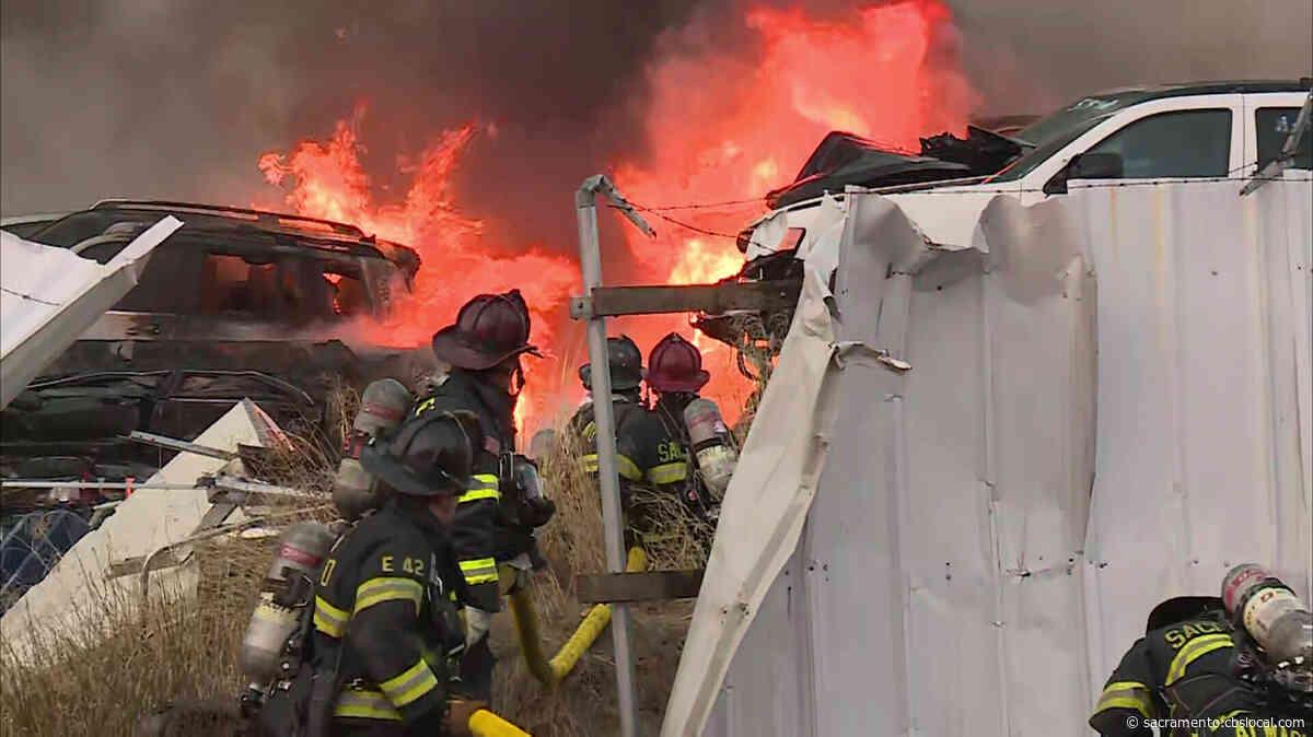 50-Vehicle Fire Burns For Hours At West Sacramento Junkyard