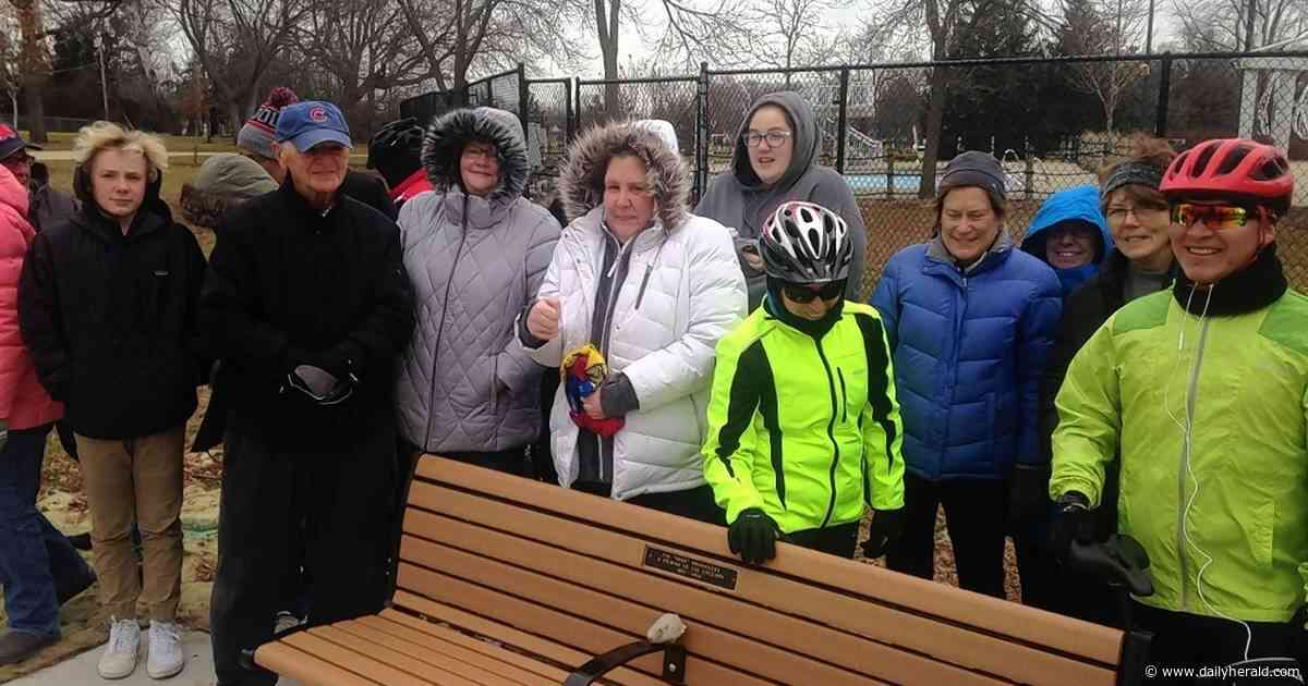 Cyclists dedicate repair station in Arlington Heights to memory of Jim Shoemaker