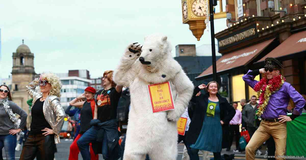 A dancing polar bear, disco moves and many wigs: Watch Extinction Rebellion's groovy dance protest