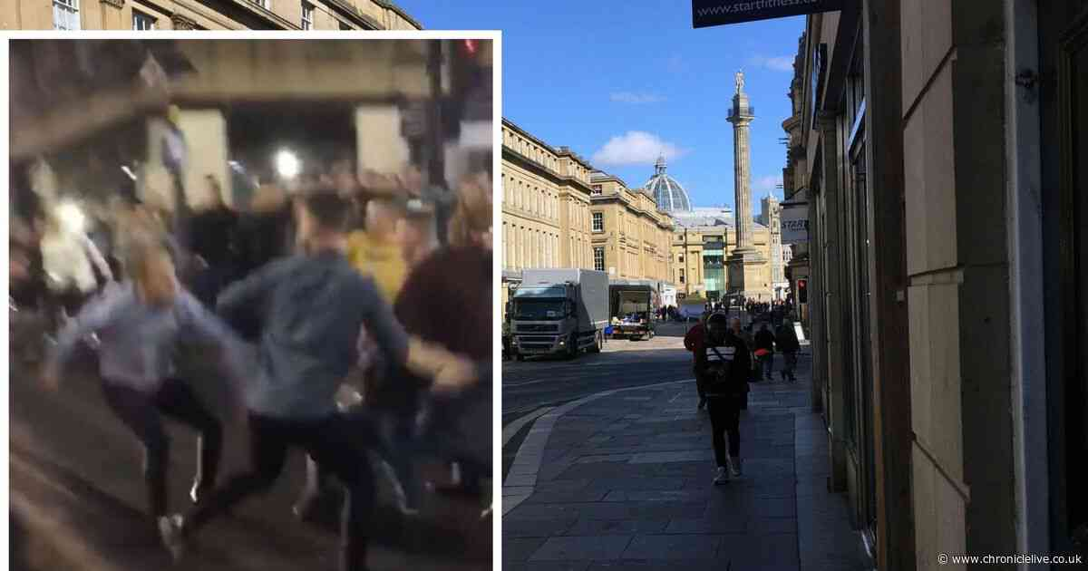 Violent brawl stops traffic in Newcastle city centre after Anthony Joshua fight