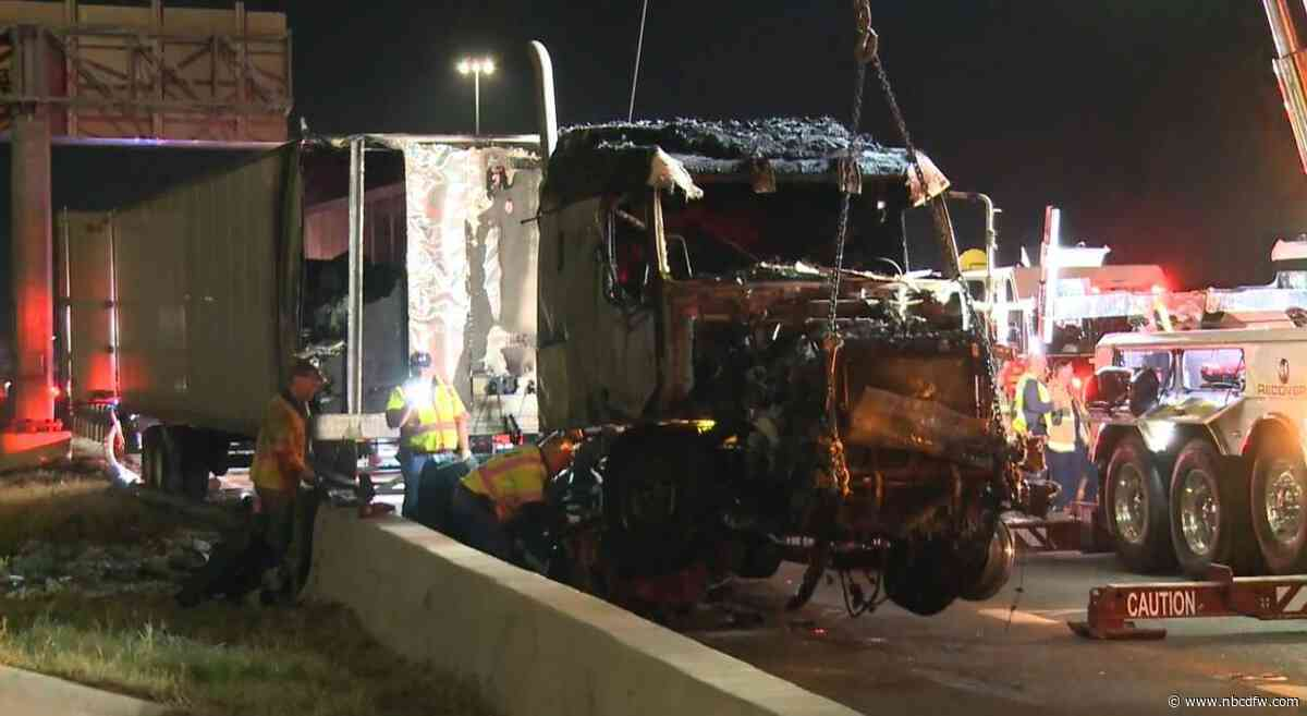18-Wheeler Carrying Mail Catches Fire After Crash in Euless