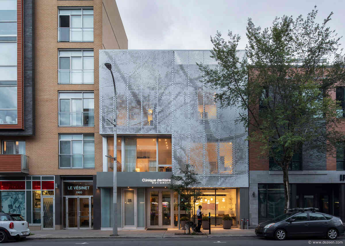 Perforated panels conceal apartments above Montreal dental clinic by Paul Bernier Architecte