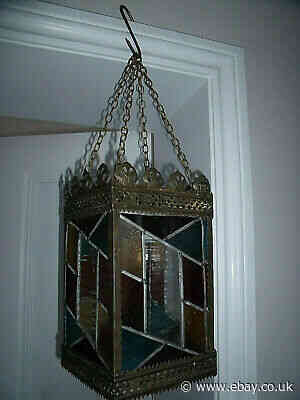VICTORIAN STAINED GLASS LANTERN WITH HANGING CHAINS 30 CM HIGH